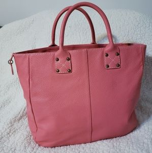GAP Salmon Pink Pebbled Leather Large Tote Bag